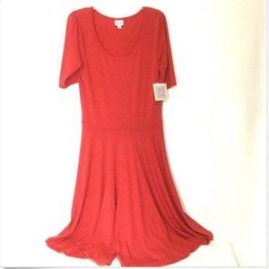 Nicole Solid Pink Orange Coral Dress LuLaRoe L NEW